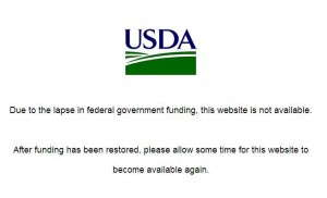 USDA site down because of government shutdown