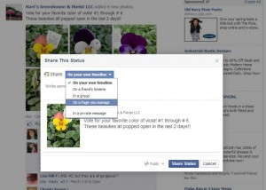 Facebook share: To share a post on Facebook, click on Share. In the dropdown menu, choose On A Page You Manage, and then choose the Page you'd like to post it to.