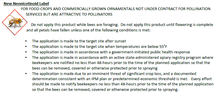Neonicotinoid label requirements for bee health from EPA