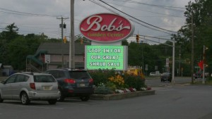 Bob's Garden Center roadside sign
