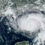 Satellite image of Hurricane Ida on approach